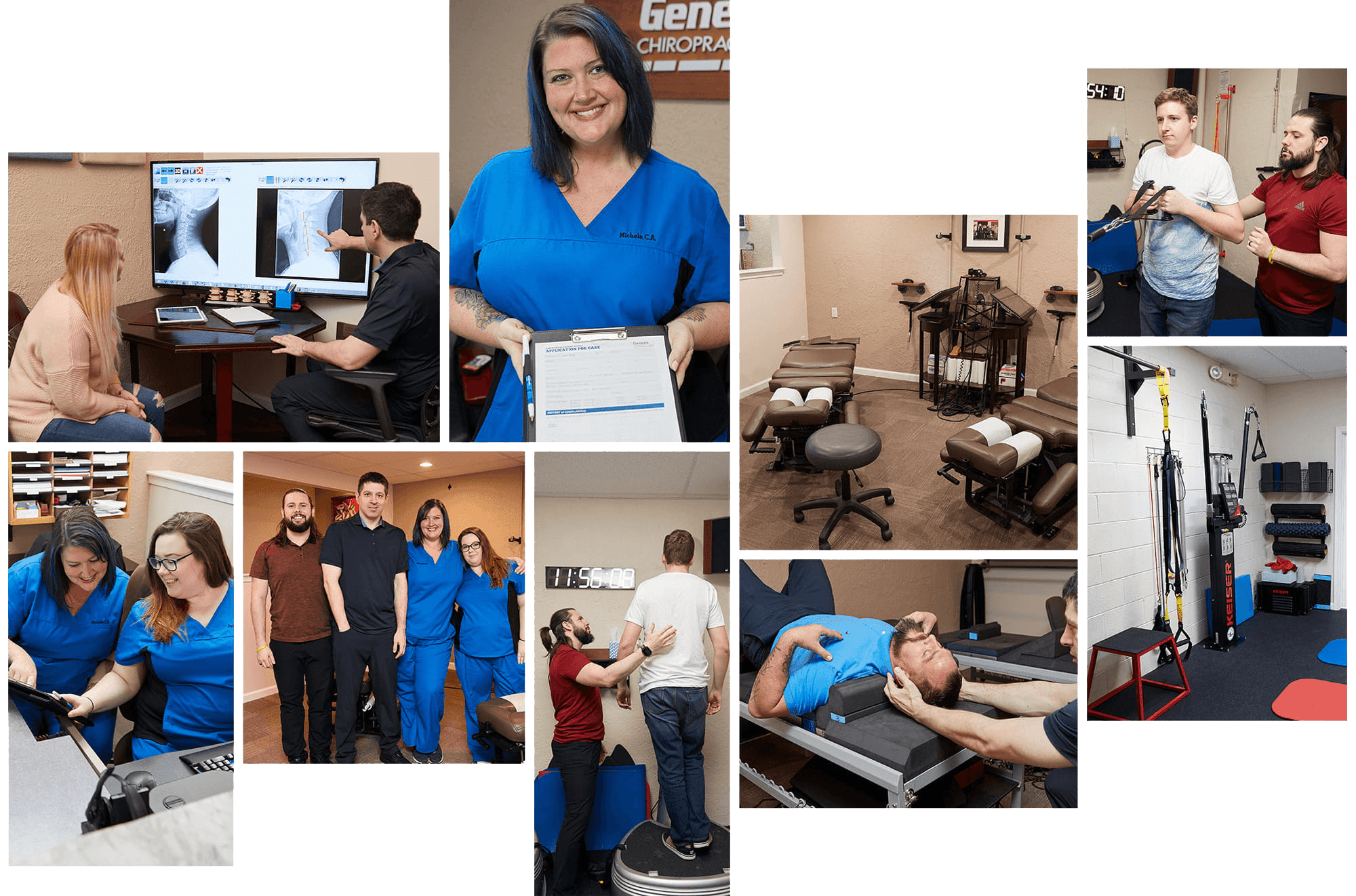 Collage of our Horsham and Warrington Chiropractic team with patients and caring for people in our office